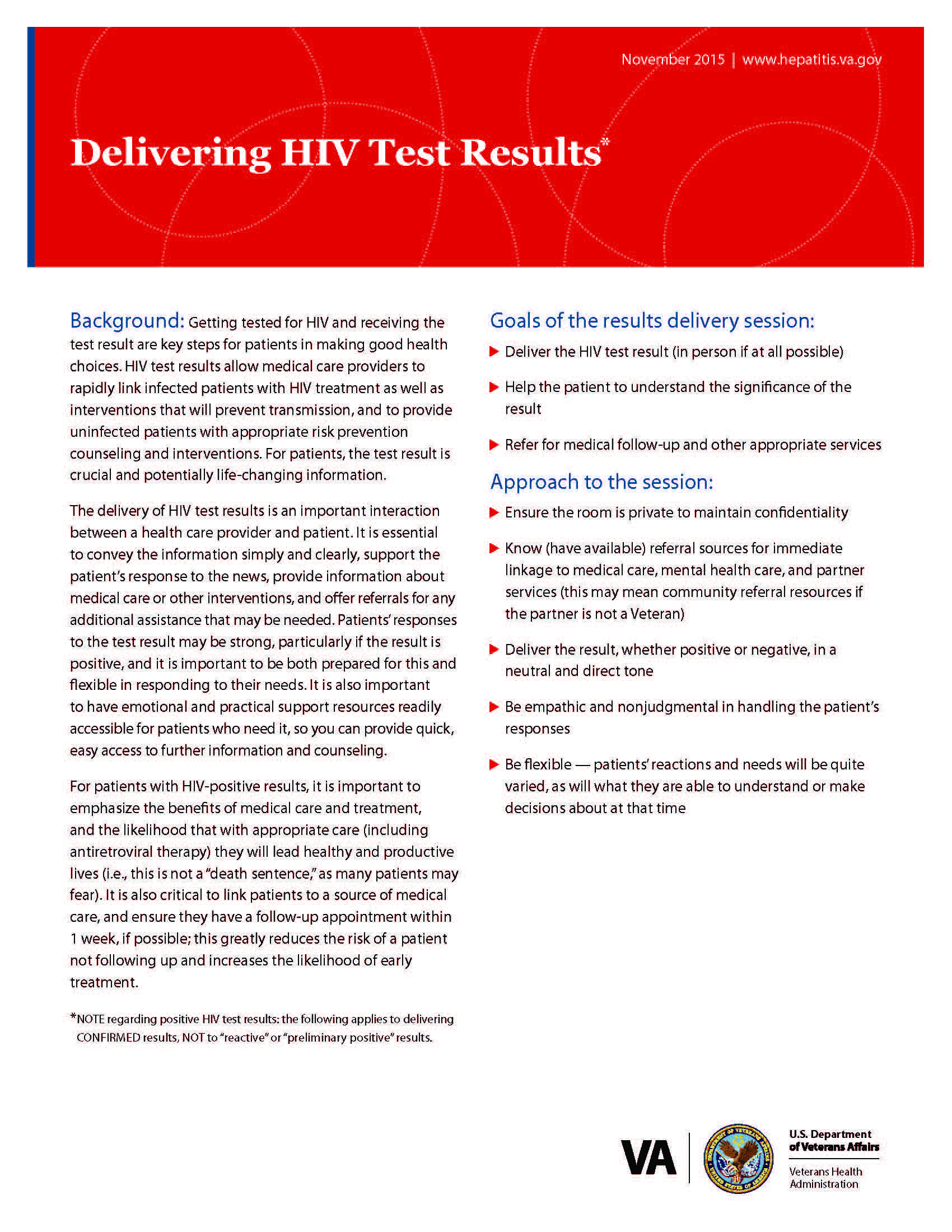 Delivering HIV Test Results